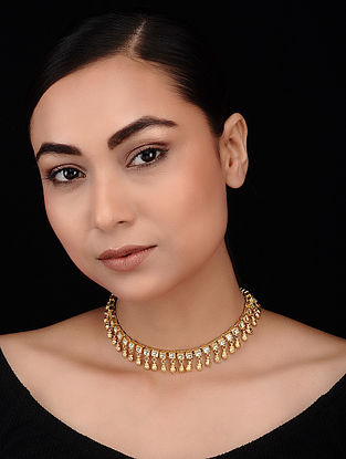 Classic Gold Tone Polki Choker Necklace