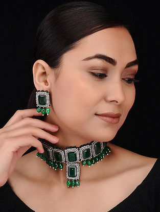 Green Silver Tone Emerald Choker Necklace with Earrings (Set of 2)
