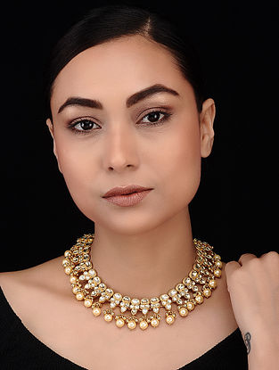 Gold Tone Polki and Pearl Beaded Choker Necklace