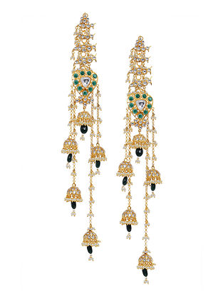 Green Gold Tone Polki and Pearl Beaded Jhumki Earrings