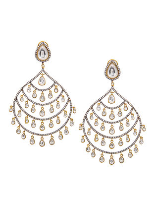 Gold Tone Polki Chandbali Earrings