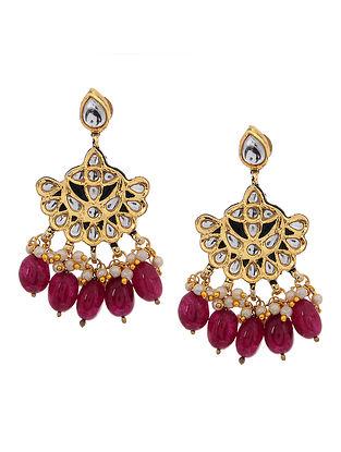 Red Gold Tone Kundan Inspired Onyx Earrings
