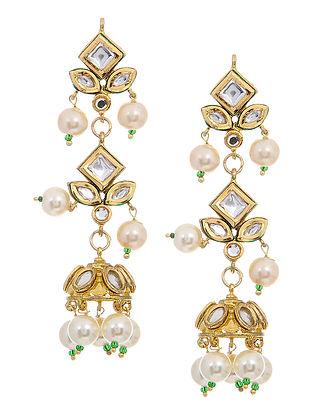 Gold Tone Kundan Inspired Pearl Beaded Jhumkis