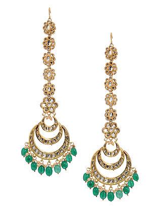 Green Gold Tone Kundan Inspired Chandbali Earrings with Ear Chain