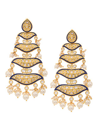 Blue Gold Tone Meenakari and Polki Earrings