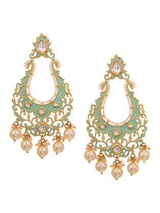 Mint Green Gold Tone Meenakari and Pearl Beaded Earrings