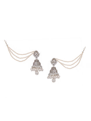 White Silver Tone Pearl Beaded Jhumkis with Ear chain