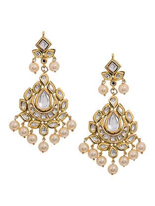 Gold Tone Kundan Inspired Pearl Beaded Earrings