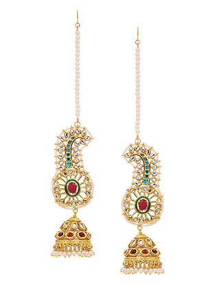 Red-Green Gold Tone Kundan Inspired Jhumkis with Hair Chain