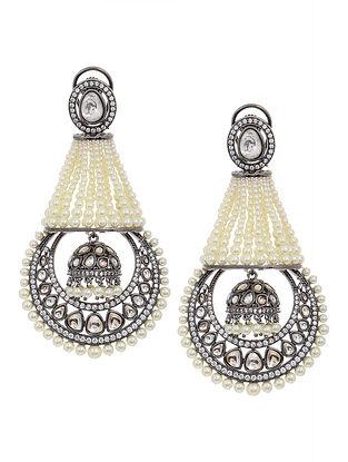Silver Tone Polki and Pearl Beaded Jhumki Earrings