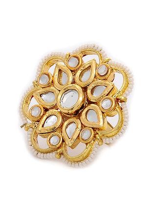 Gold Tone Kundan Inspired Adjustable Ring