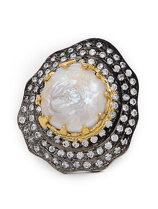 Dual Tone Baroque Pearl Adjustable Ring