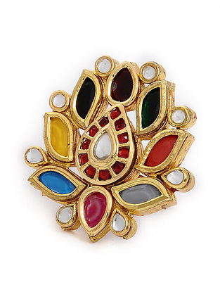 Multicolored Gold Tone Navratan Adjustable Ring