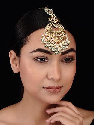 Gold Tone Kundan Inspired Pearl Beaded Maang Tikka