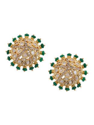 Green Gold Tone Polki and Onyx Stud Earrings