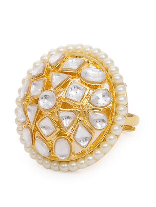 Gold Tone Kundan Inspired Pearl Beaded Adjustable Ring