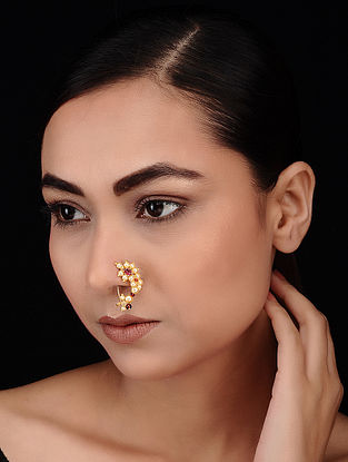Red Gold Tone Kundan Inspired Pearl Beaded Nosepin