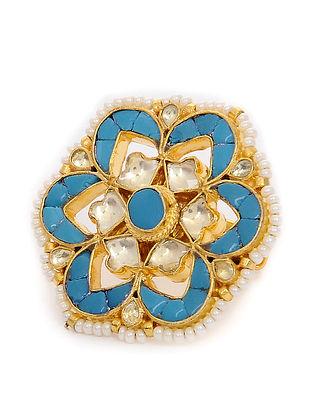 Feroza Gold Tone Kundan Inspired Adjustable Ring