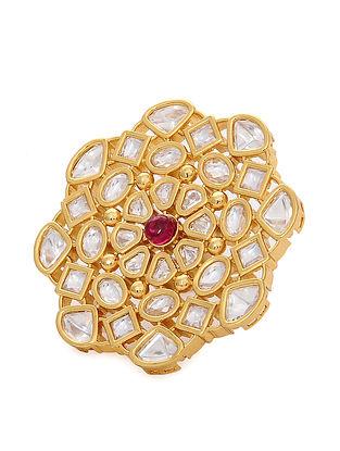 Red Gold Tone Kundan Inspired Adjustable Ring