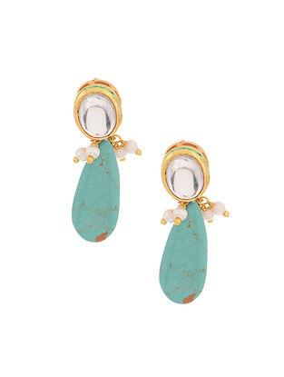 Turquoise Gold Tone Kundan Inspired Earrings