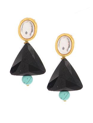 Black Gold Tone Kundan Inspired Crystal Earrings