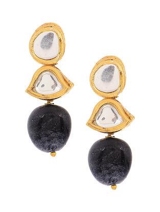 Blue Gold Tone Kundan Inspired Onyx Earrings