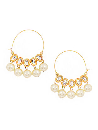 Gold Tone Kundan Inspired Pearl Hoops