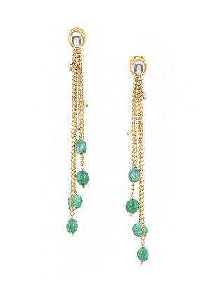 Green Gold Tone Kundan Inspired Tassel Earrings