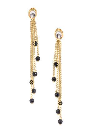 Black Gold Tone Kundan Inspired Onyx Tassel Earrings