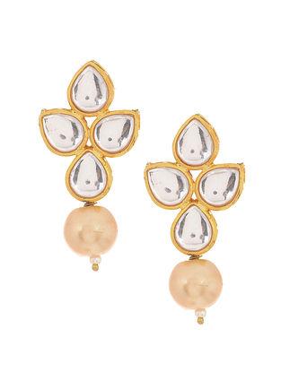 Gold Tone Kundan Inspired Pearl Stud Earrings