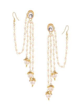 Gold Tone Kundan Inspired Pearl Tassel Earrings with Hair Chain