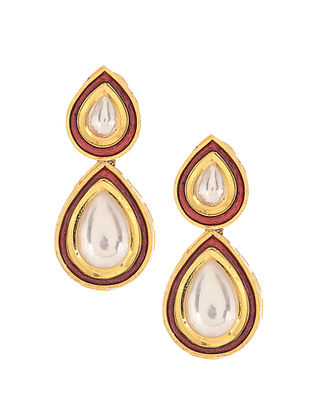 Red Gold Tone Polki Stud Earrings