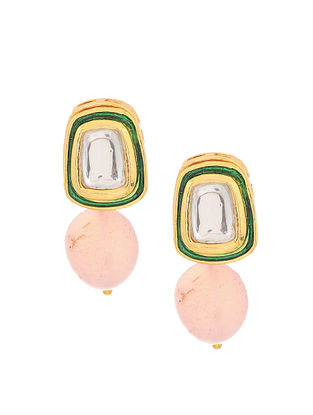 Peach Gold Tone Rose Quartz Polki Stud Earrings