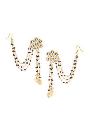Red-Green Kundan Inspired Beaded Earrings with Hair Chain