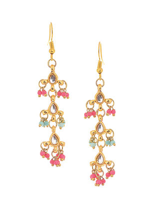 Pink-Turquoise Gold Tone Kundan Inspired Earrings