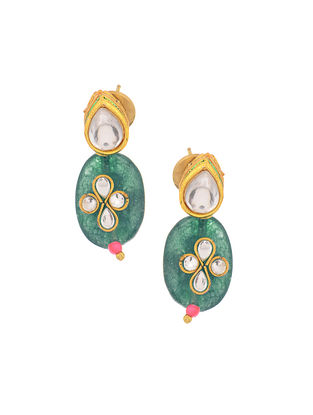Blue Gold Tone Kundan Inspired Stud Earrings