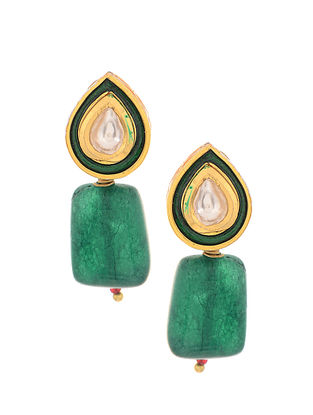 Green Gold Tone Polki Earrings