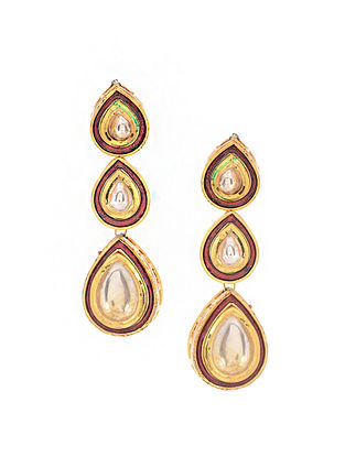 Red Gold Tone Polki Danglers