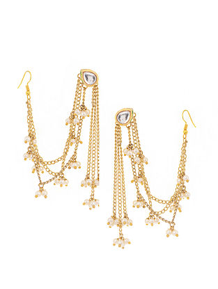 Gold Tone Kundan Inspired Earrings with Hair Chain