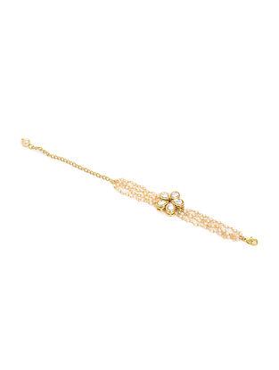 Gold Tone Kundan Inspired Pearl Bracelet