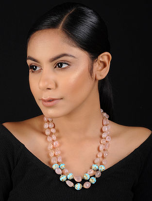 Pink-Turquoise Gold Tone Beaded Necklace