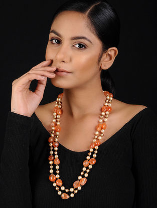 Orange Agate and Pearl Beaded Handcrafted Necklace
