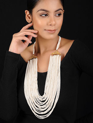 White Gold Tone Shell Pearl Beaded Handcrafted Necklace