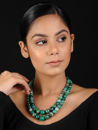 Green Agate Beaded Handcrafted Necklace