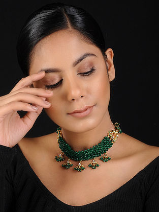 Green Gold Tone Onyx Beaded Handcrafted Choker Necklace