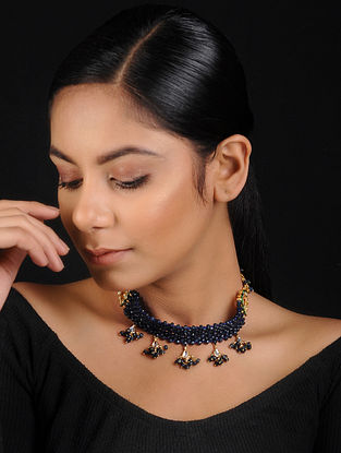 Blue Gold Tone Onyx Beaded Handcrafted Choker Necklace