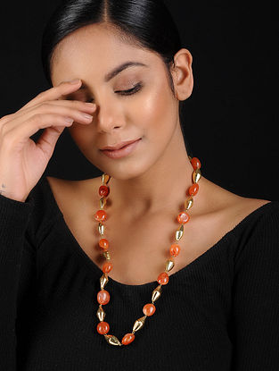 Orange-Gold Agate Beaded Handcrafted Necklace