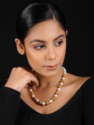 White-Gold Pearl Beaded Handcrafted Necklace