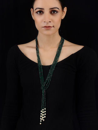 Green Crystals and Pearls Knot Necklace