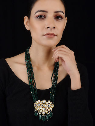 Green Gold Tone Jade and Kundan Inspired Pendant necklace